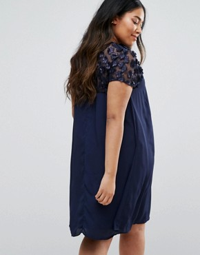 photo Swing Dress with 3D Floral Top by Praslin Plus, color Navy - Image 2