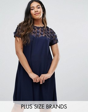 photo Swing Dress with 3D Floral Top by Praslin Plus, color Navy - Image 1