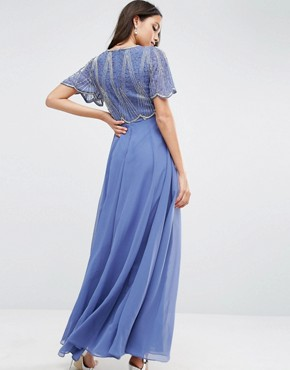 photo Embellished Bodice Maxi Dress with Scallop Sleeve by ASOS, color Blue - Image 2