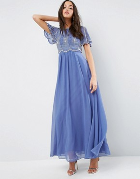 photo Embellished Bodice Maxi Dress with Scallop Sleeve by ASOS, color Blue - Image 1
