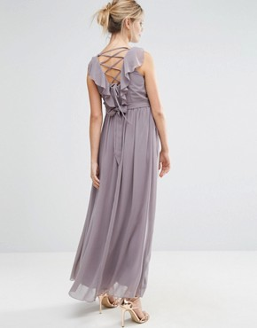photo Embellished Waist Maxi Dress with Cross Back Detail by Little Mistress Maternity, color Slate Grey - Image 2