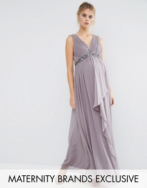 photo Embellished Waist Maxi Dress with Cross Back Detail by Little Mistress Maternity, color Slate Grey - Image 1