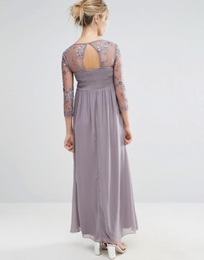 photo Floral Applique Overlay Maxi Dress by Little Mistress Maternity, color Mink - Image 2