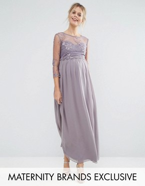 photo Floral Applique Overlay Maxi Dress by Little Mistress Maternity, color Mink - Image 1