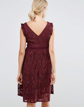 photo Lace Ruffle Neck Skater Dress by Little Mistress Maternity, color Maroon - Image 2