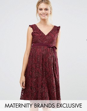 photo Lace Ruffle Neck Skater Dress by Little Mistress Maternity, color Maroon - Image 1
