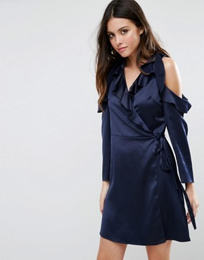 photo Wrap Front Tea Dress in Satin by ASOS, color Navy - Image 1