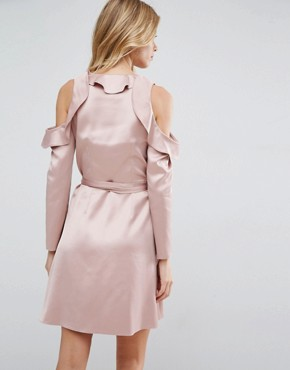 photo Wrap Front Tea Dress in Satin by ASOS, color Blush - Image 2