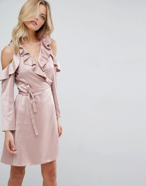 photo Wrap Front Tea Dress in Satin by ASOS, color Blush - Image 1