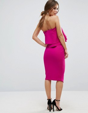 photo Double Ruffle Bandeau Pencil Dress in Texture by ASOS PETITE, color Fuchsia - Image 2