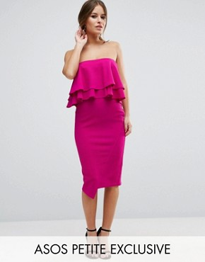 photo Double Ruffle Bandeau Pencil Dress in Texture by ASOS PETITE, color Fuchsia - Image 1