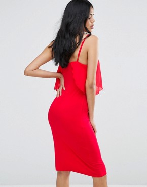 photo Jersey Dress with Chiffon Detail by Love, color Red - Image 2