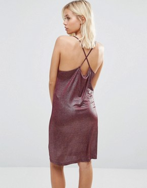 photo Metallic Cami Slip Dress by Vila, color Pink - Image 2