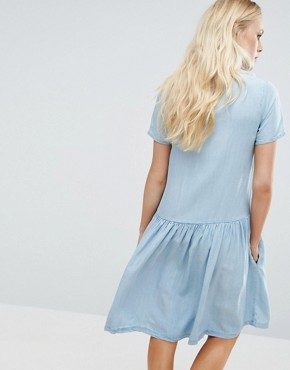 photo Suki Denim Look Dress by Little White Lies, color Blue - Image 2