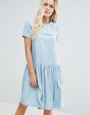 photo Suki Denim Look Dress by Little White Lies, color Blue - Image 1