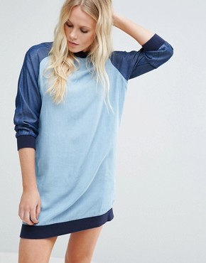 photo Raegan Denim Dress with Contrast Sleeves by Little White Lies, color Blue - Image 1
