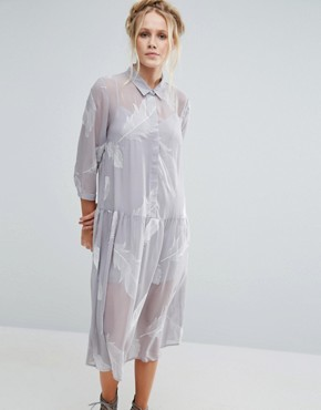photo Pookie Feather Print Shirt Dress by Little White Lies, color Grey - Image 1