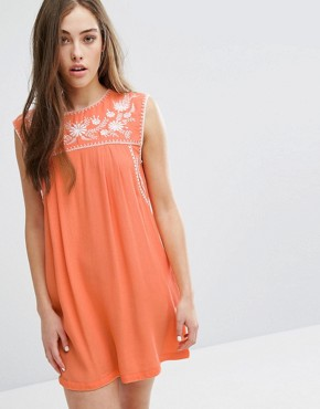 photo Lee Embroidered Dress by Little White Lies, color Orange - Image 1