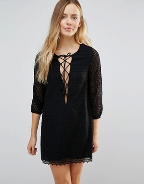 photo Fion Lace Up Front Dress by Little White Lies, color Black - Image 1