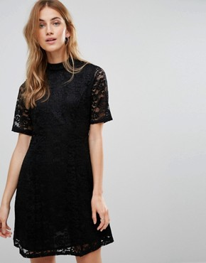 photo Lace High Neck Shift Dress by New Look, color Black - Image 2