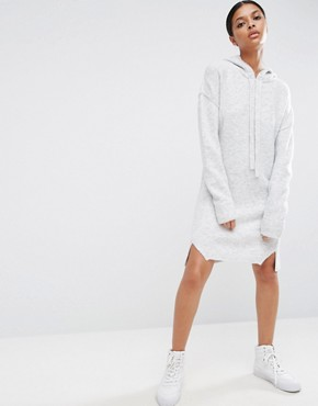 photo Hoodie Jumper Dress in Knit by ASOS, color Grey - Image 1