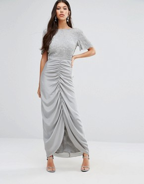 photo Keira Maxi Dress with Ruched Skirt by Virgos Lounge, color Grey - Image 1