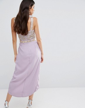 photo Crystal Embroidered Bodice Midi Dress by Virgos Lounge, color Lilac - Image 2