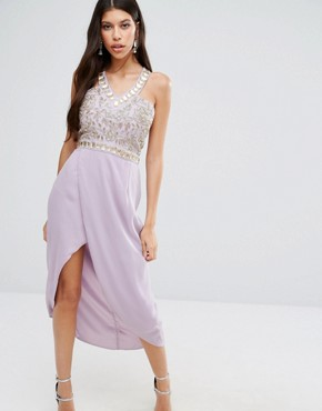 photo Crystal Embroidered Bodice Midi Dress by Virgos Lounge, color Lilac - Image 1