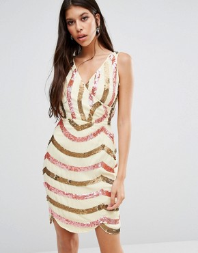 photo Opal Cross Front Dress by Virgos Lounge, color Nude - Image 1