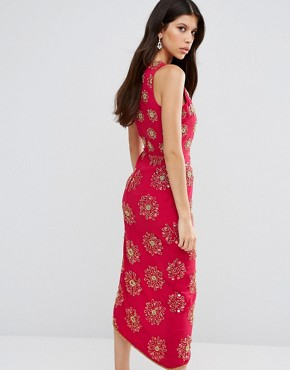photo Daria Embellished Midi Dress by Virgos Lounge, color Red - Image 2