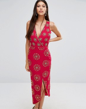 photo Daria Embellished Midi Dress by Virgos Lounge, color Red - Image 1
