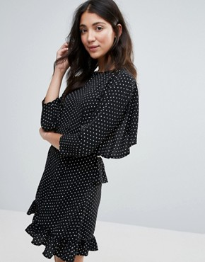 photo Frill Backless Mini Dress by Unique 21, color Black White Polka - Image 2