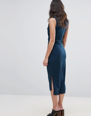 photo Waist Tie Dress with Side Splits by Unique 21, color Navy Ribbed - Image 2