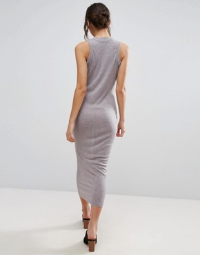 photo Basic Ribbed Midi Tank Column Dress by Unique 21, color Grey - Image 2