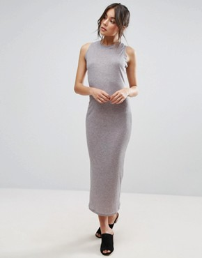 photo Basic Ribbed Midi Tank Column Dress by Unique 21, color Grey - Image 1
