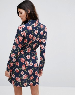 photo Belted Shirt Dress by Unique 21, color Navy Floral - Image 2