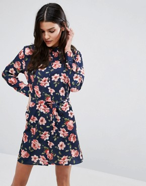 photo Belted Shirt Dress by Unique 21, color Navy Floral - Image 1