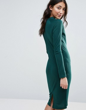 photo High Neck Ribbed Pencil Dress by Unique 21, color Green - Image 2