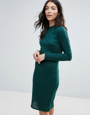 photo High Neck Ribbed Pencil Dress by Unique 21, color Green - Image 1