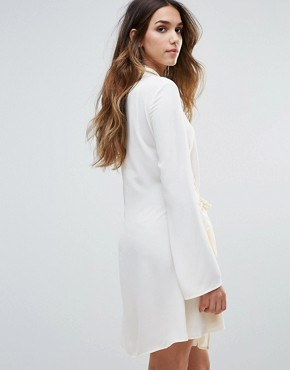 photo Tie Waist Flared Sleeve Shirt Dress by Unique 21, color Cream - Image 2