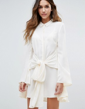 photo Tie Waist Flared Sleeve Shirt Dress by Unique 21, color Cream - Image 1