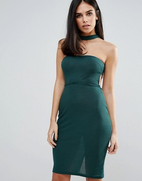 photo Choker Strapless Dress by Unique 21, color Green - Image 1