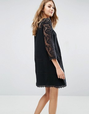 photo Lace Detail Shift Dress by Pull&Bear, color Black - Image 2