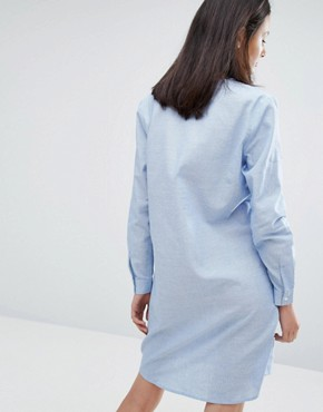photo Heal Shirt Dress by ADPT, color White with Blue Stripe - Image 2