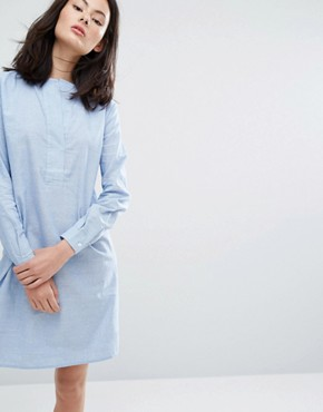photo Heal Shirt Dress by ADPT, color White with Blue Stripe - Image 1