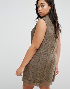 photo Lace Dress with High Neck by Elvi Plus, color Khaki - Image 2