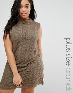 photo Lace Dress with High Neck by Elvi Plus, color Khaki - Image 1