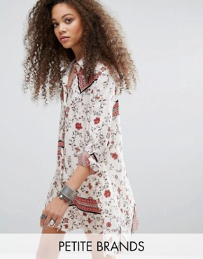 photo Swing Shirt Dress in Mix and Match Print by Glamorous Petite, color Floral - Image 1