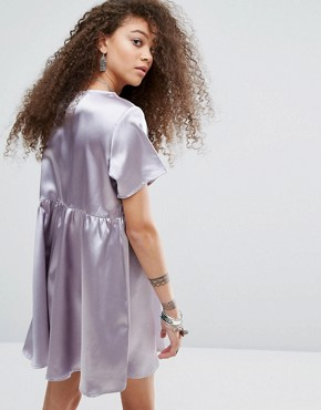 photo Oversized Satin Skater Dress by Glamorous Petite, color Silver - Image 2