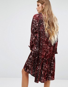 photo Peplum Hem Shirt Dress In Muted Leopard Print by Reclaimed Vintage, color Red - Image 2